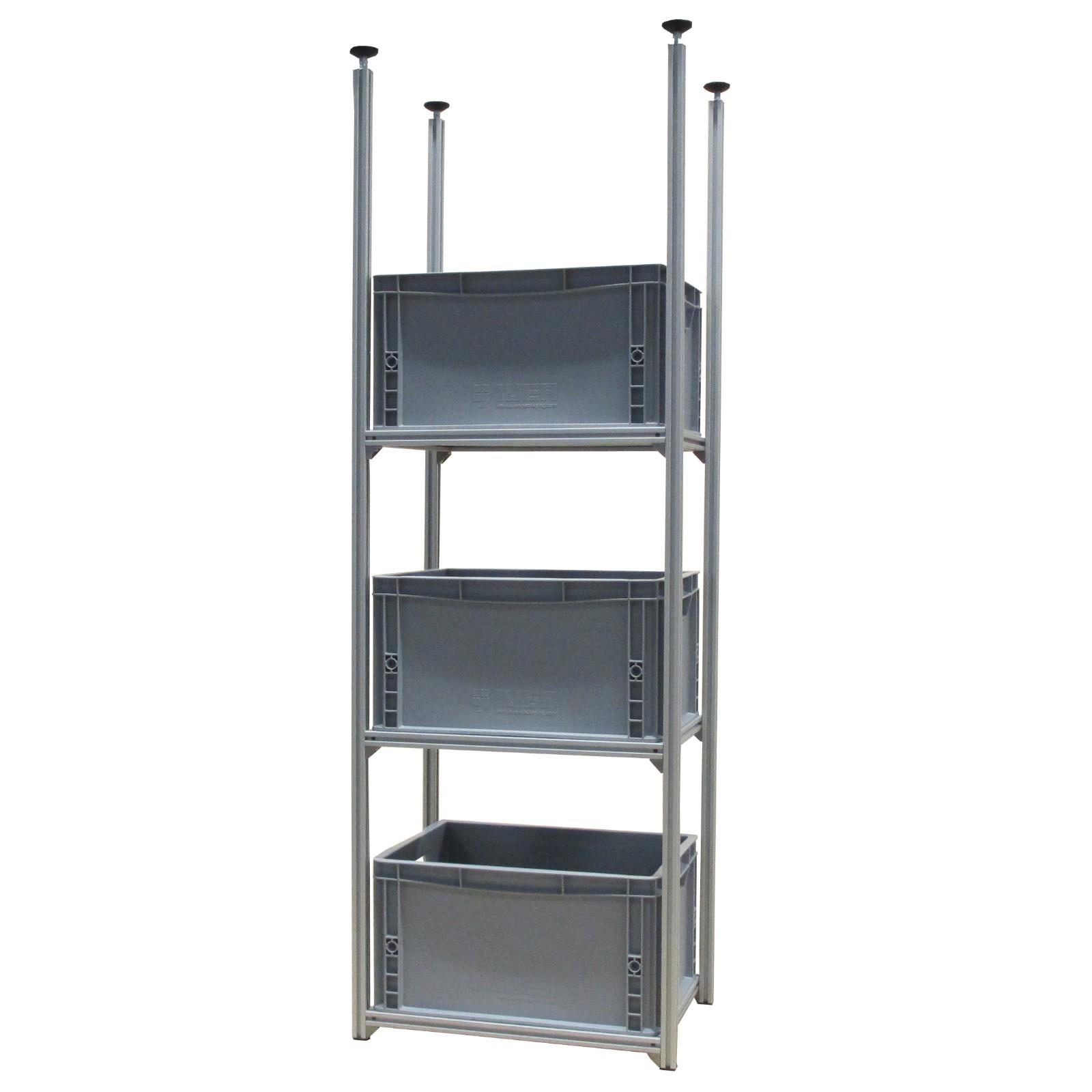 aluprofiltechnik regalsystem rl 400 x 300 f r 3 kisten. Black Bedroom Furniture Sets. Home Design Ideas