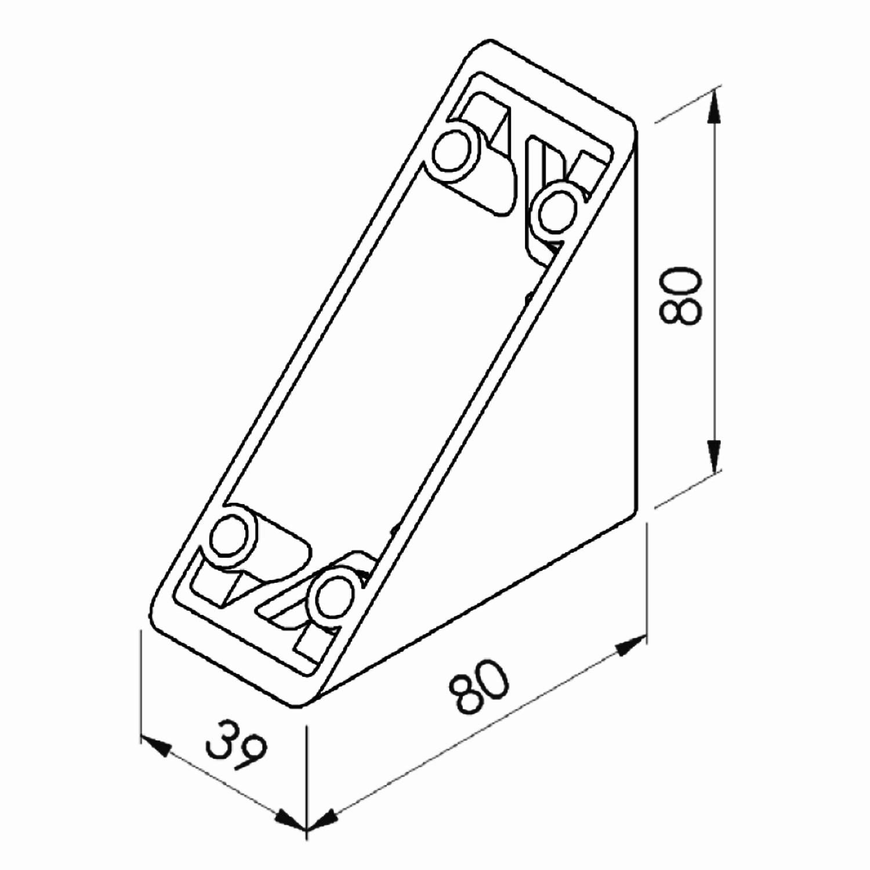 Winkel 40 Nut 8 leicht mit Befestigung und Abdeckkappe Alu-Profil 40 Item Raster