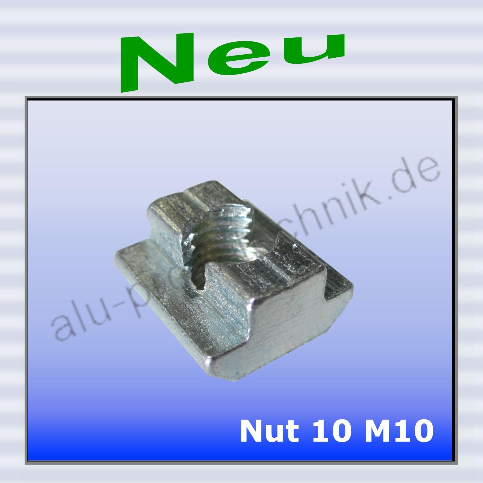 10 Stück Nutensteine M5 flach feststellbar Nut 10 Aluprofil Nutenstein